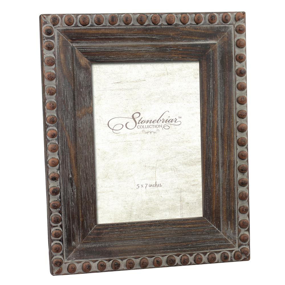 Charmant Stonebriar Collection 1 Opening 5 In. X 7 In. Rustic Wood With Rivet Detail  Picture Frame SB 5391A   The Home Depot