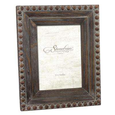 1-Opening 5 in. x 7 in. Rustic Wood With Rivet Detail Picture Frame