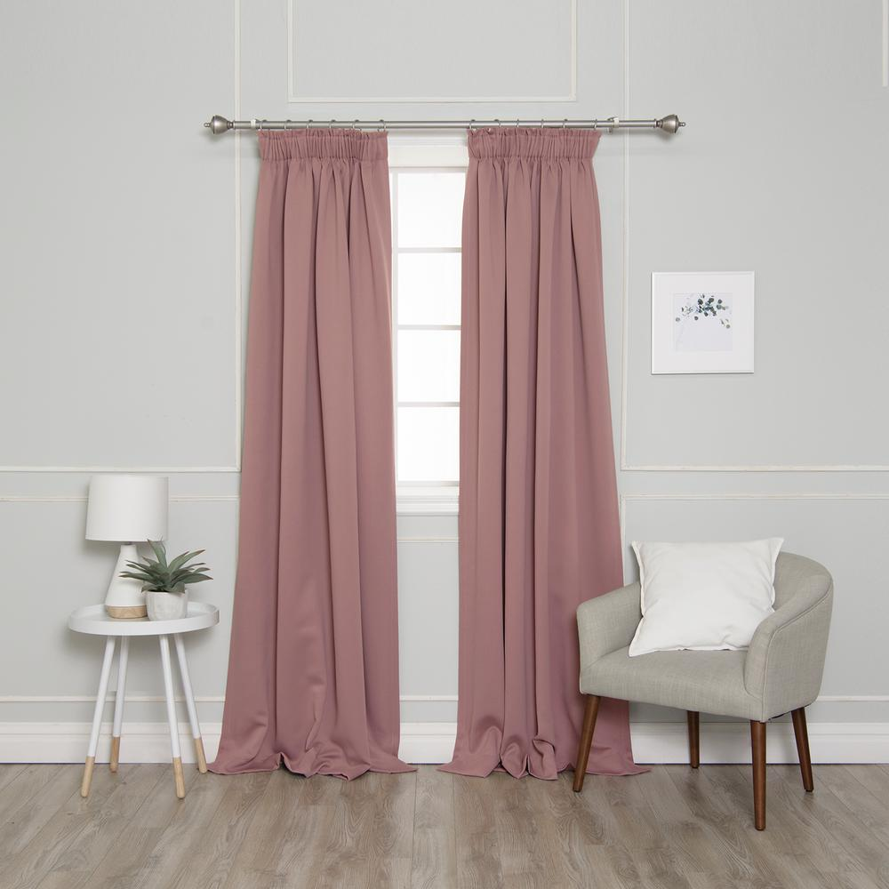 Best Home Fashion 84 in. L Pencil Pleat Blackout Curtains in Mauve (2-Pack)
