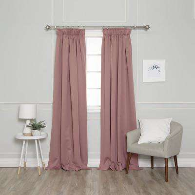 84 in. L Pencil Pleat Blackout Curtains in Mauve (2-Pack)