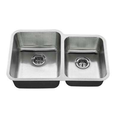 All-in-One Undermount Stainless Steel 31 in. 2-Hole Double Bowl Kitchen Sink Kit