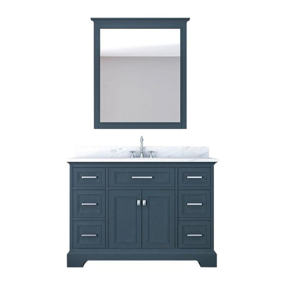 Alya Bath Yorkshire 49 in. W x 22 in. D Vanity in Gray with Marble Vanity Top in White with White Basin and Mirror