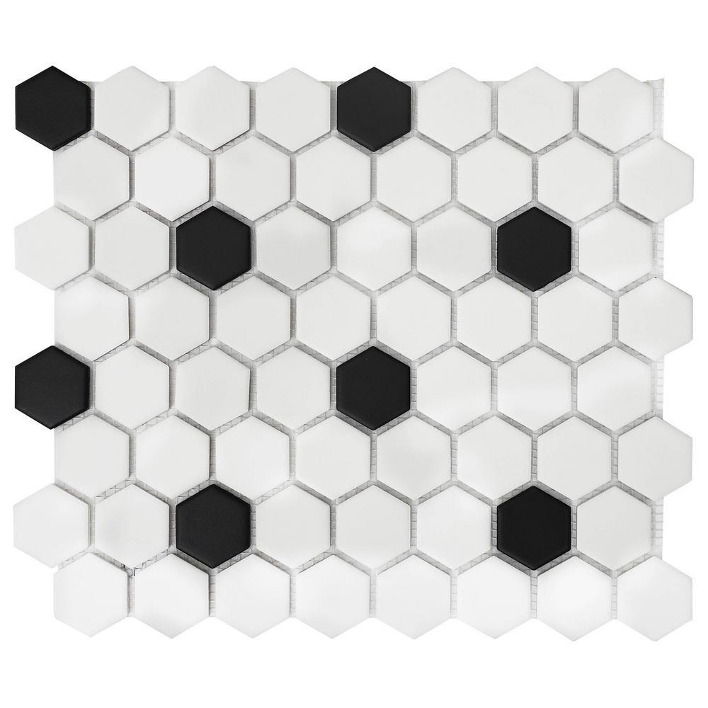 - Daltile Restore Matte Black And White Hexagon 12 In. X 14 In. X
