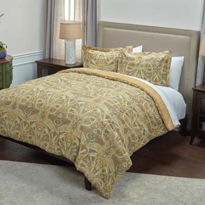 Gold Medallion Distressed Pattern 3-Piece Queen Bed Set