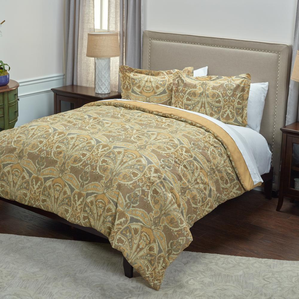 Gold Medallion Distressed Pattern 3-Piece King Bed Set