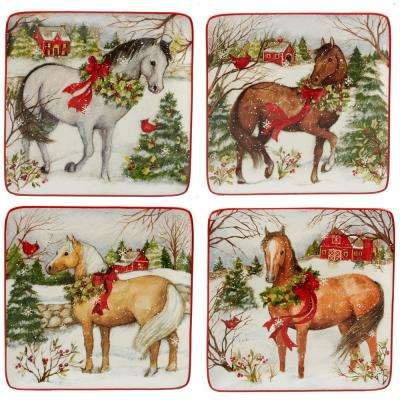 Christmas on the Farm by Susan Winget 8.5 in. Dessert Plate (Set of 4)