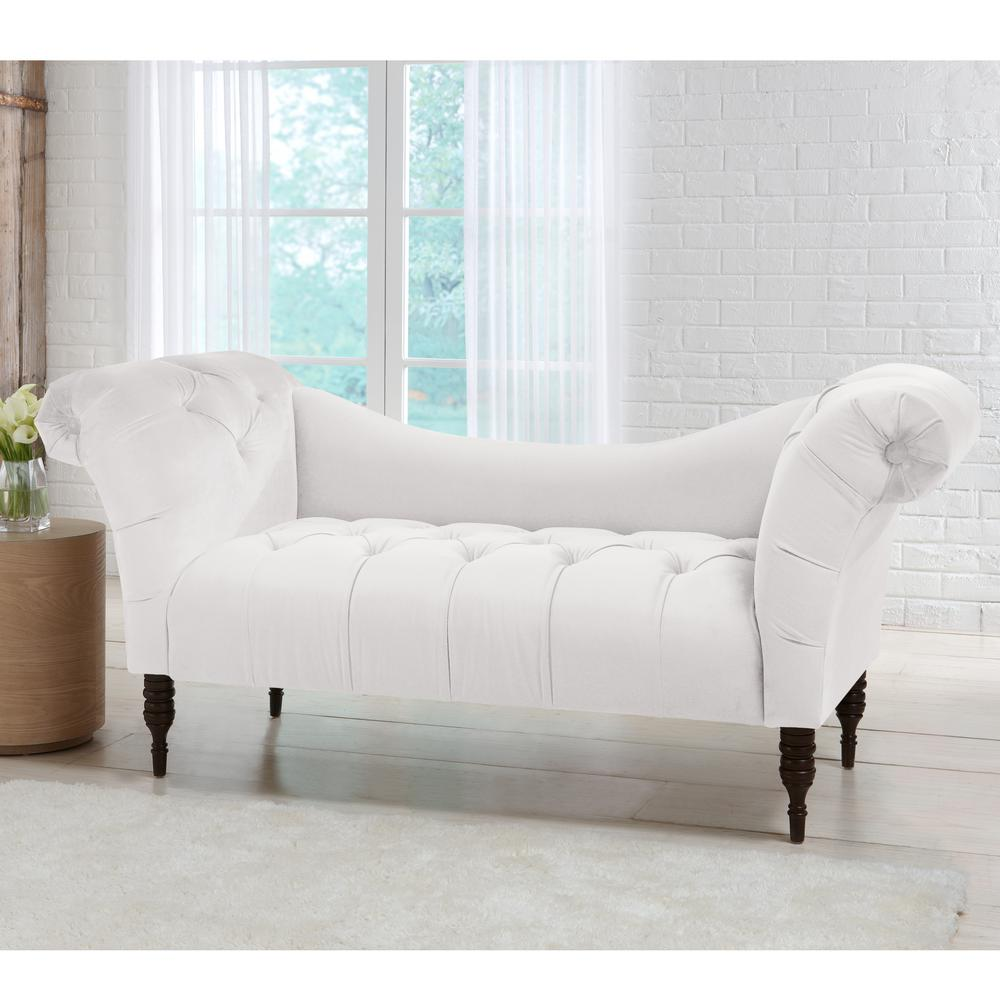 Skyline Furniture Tufted White Chaise Lounge In Mystere Snow