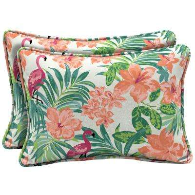 22 in. x 15 in. Luau Flamingo Tropical Oversized Lumbar Outdoor Throw Pillow (2-Pack)
