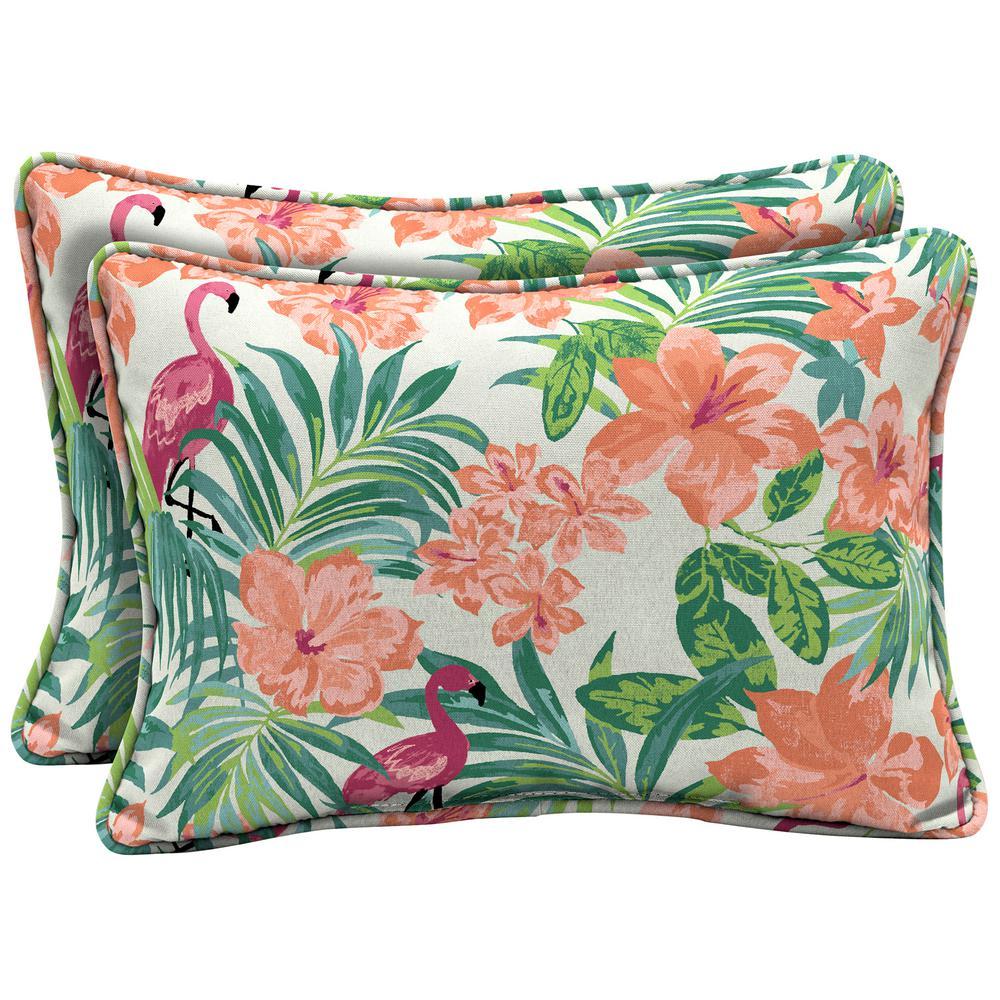 Luau Flamingo Tropical Oversized Lumbar Outdoor Throw Pillow (2-Pack)