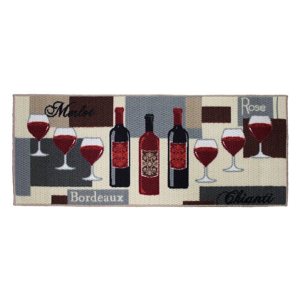 Wine Time 20 in. x 48 in. Textured Accent Kitchen Runner