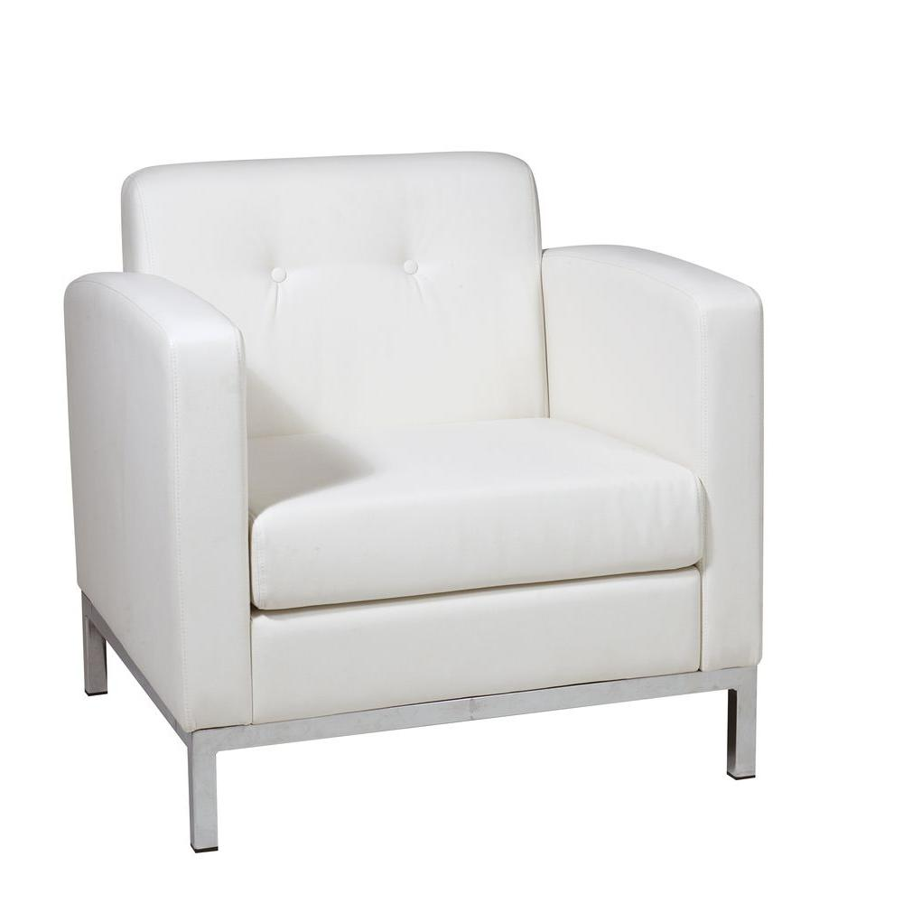 Ave Six Wall Street White Faux Leather Arm Chair