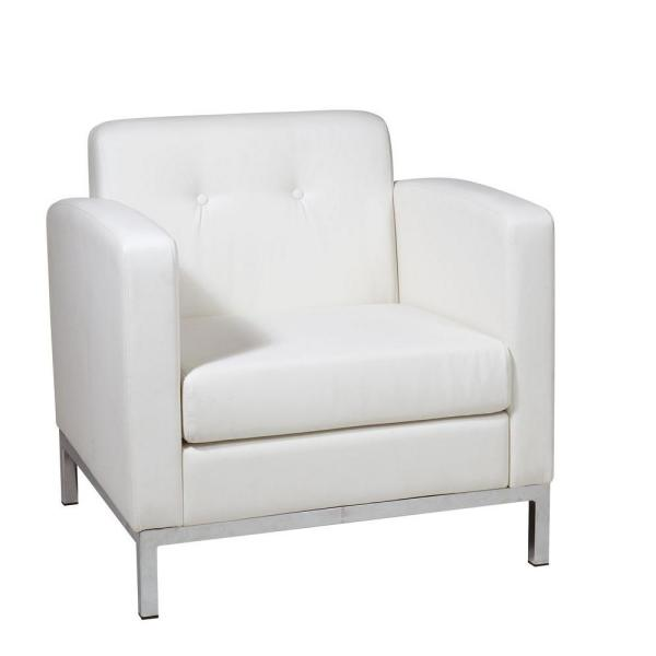 OSP Home Furnishings Wall Street White Faux Leather Arm Chair WST51A-W32