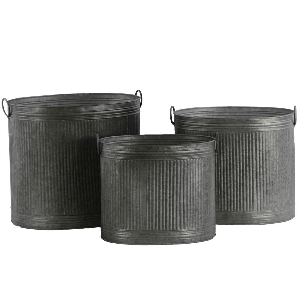 Silver Galvanized Finish Metal Decorative Vase (Set of 3)