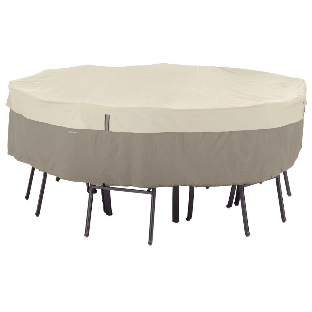 Classic Accessories Belltown Medium Sidewalk Grey Round Table And Patio  Chair Set Cover Part 72
