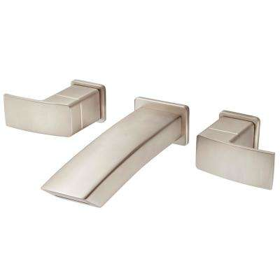 Kenzo 2-Handle Wall Mount Bathroom Faucet Trim Kit in Brushed Nickel (Valve Not Included)
