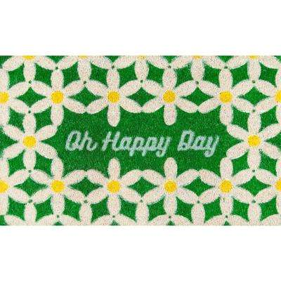 Oh Happy Day Green 18 in. x 30 in. Door Mat