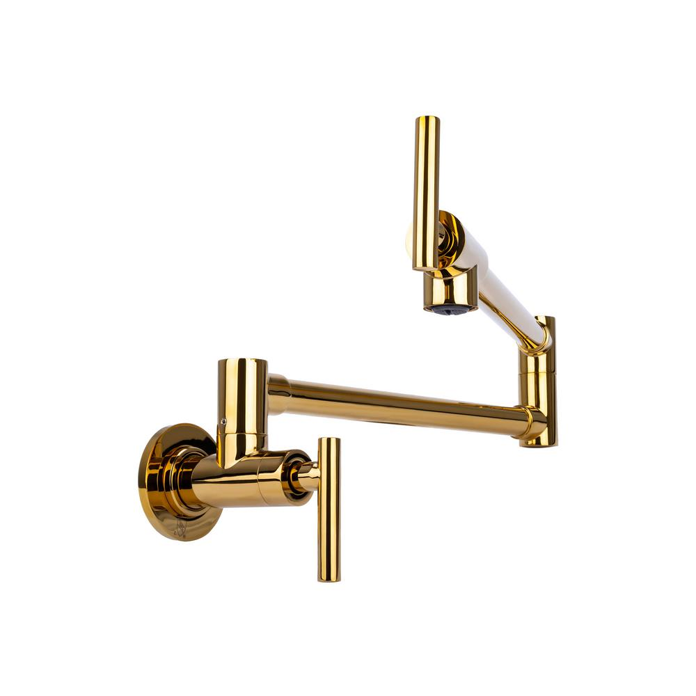 Italia Contemporary Wall Mount Pot Filler with 2 Handles in Gold Finish