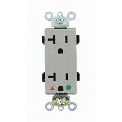 Decora Plus 20 Amp Hospital Grade Extra Heavy Duty Isolated Ground Duplex Outlet, Gray