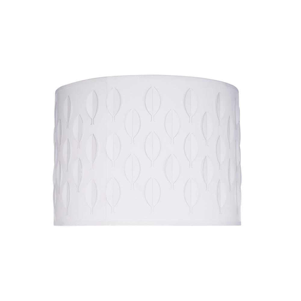 14 in. x 10 in. Off White and Leaf Pattern Drum/Cylinder