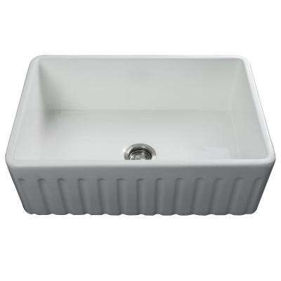 Luxury 30 inch Fireclay Modern Farmhouse Kitchen Sink in White, Single Bowl with Fluted Front, Includes Drain