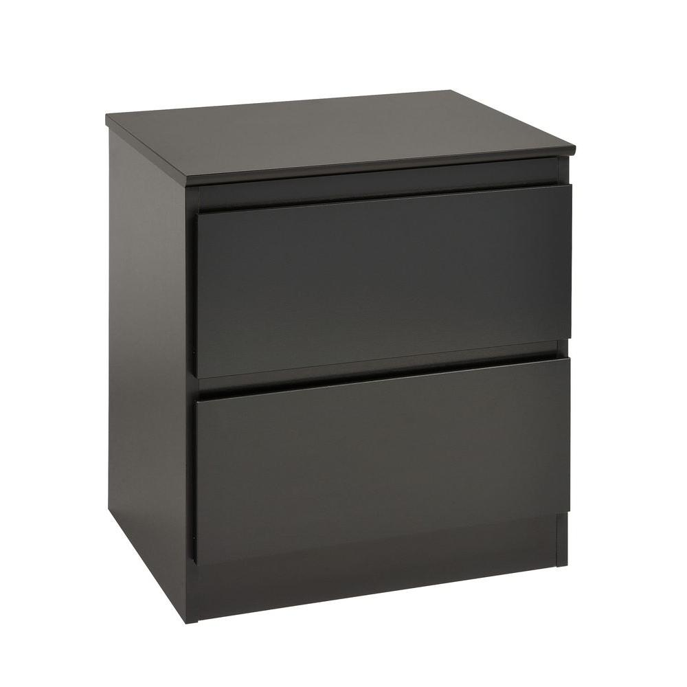 Prepac Avanti Black 2-Drawer Night Stand-DISCONTINUED