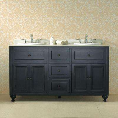 Kensington 60 in. W x 21 in. D Vanity in Antique Black with Engineered Marble Vanity Top in White with White Basin