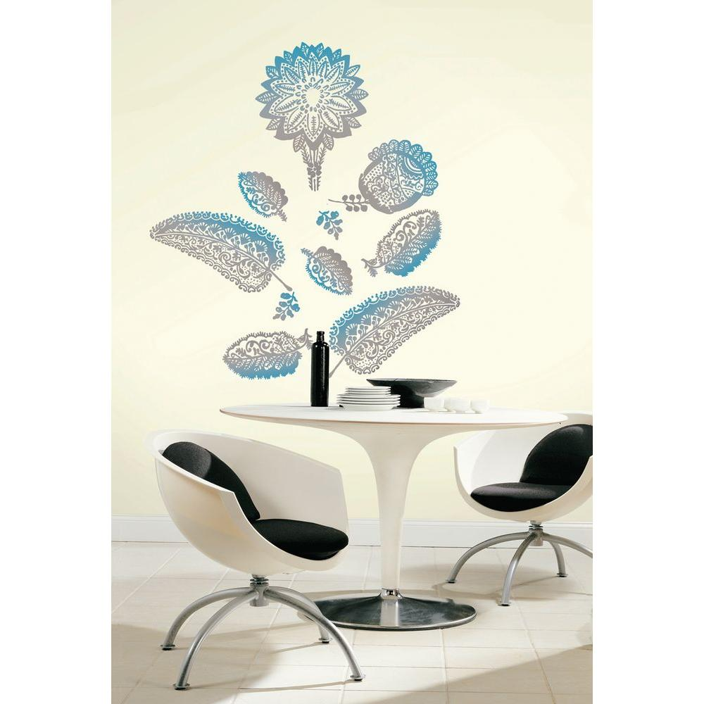 Snap 39.75 in. x 17.125 in. Blue And Grey Floral Wall Decal
