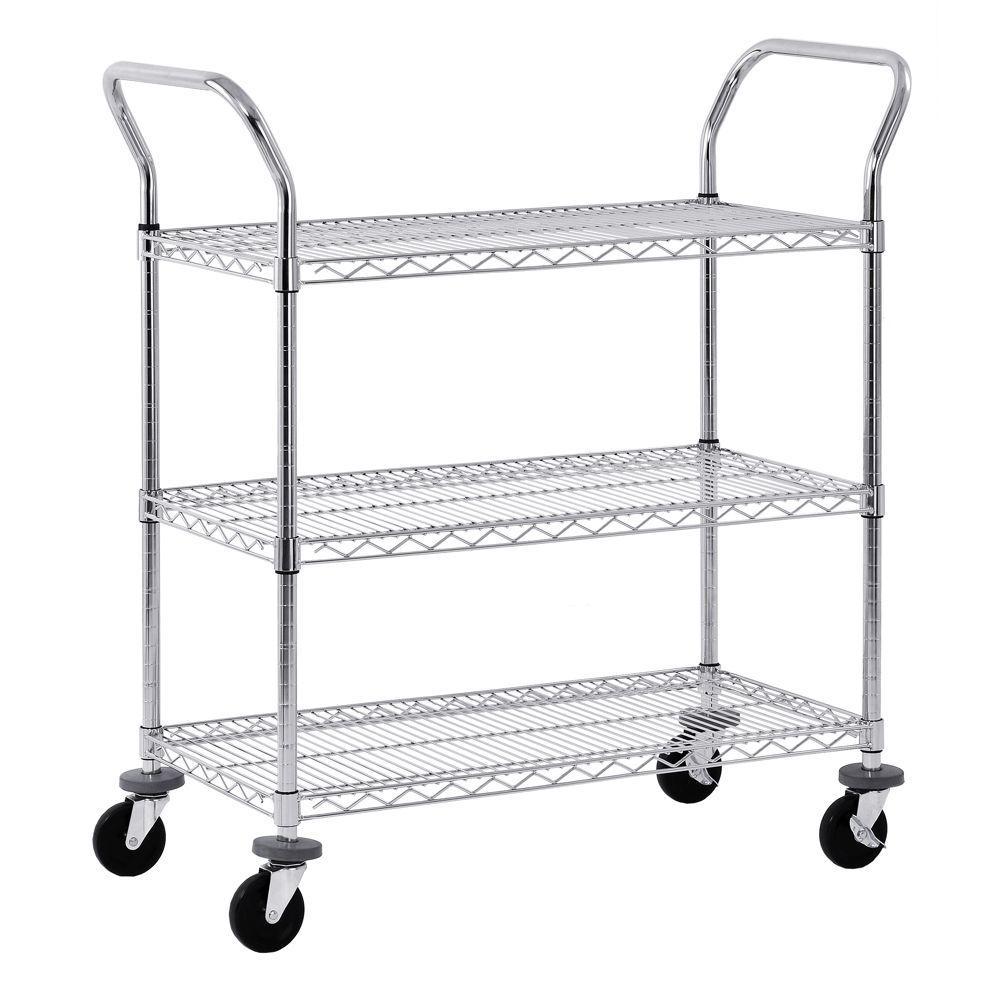 Sandusky 3-Tier 800 lb. Capacity NSF Chrome Wire Cart by Sandusky