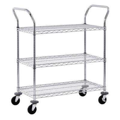 3-Tier 800 lb. Capacity NSF Chrome Wire Cart