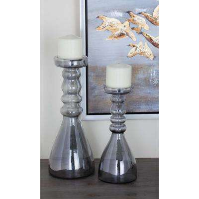 Clear Glass Candle Holders (Set of 2)