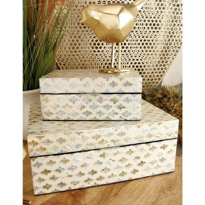 Vintage White Zig-Zag Patterned MDF Multiple Decorative Boxes w/ Tan, Gray and Blue Mother of Pearl Tile Inlay(Set of 2)