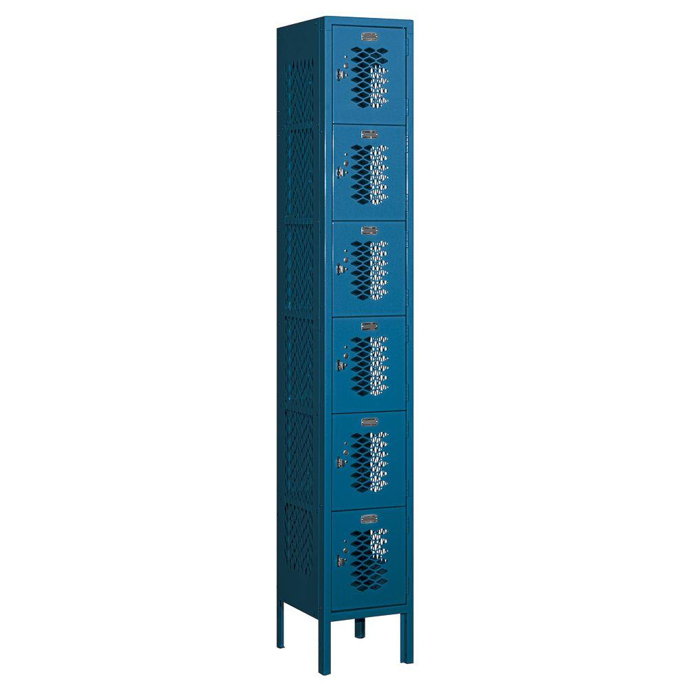 Salsbury Industries 76000 Series 12 in. W x 78 in. H x 12 in. D Six Tier Box Style Vented Metal Locker Assembled in Blue