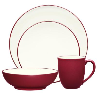 Colorwave Coupe 4-Piece Casual Raspberry Stoneware Dinnerware Set (Service for 1)