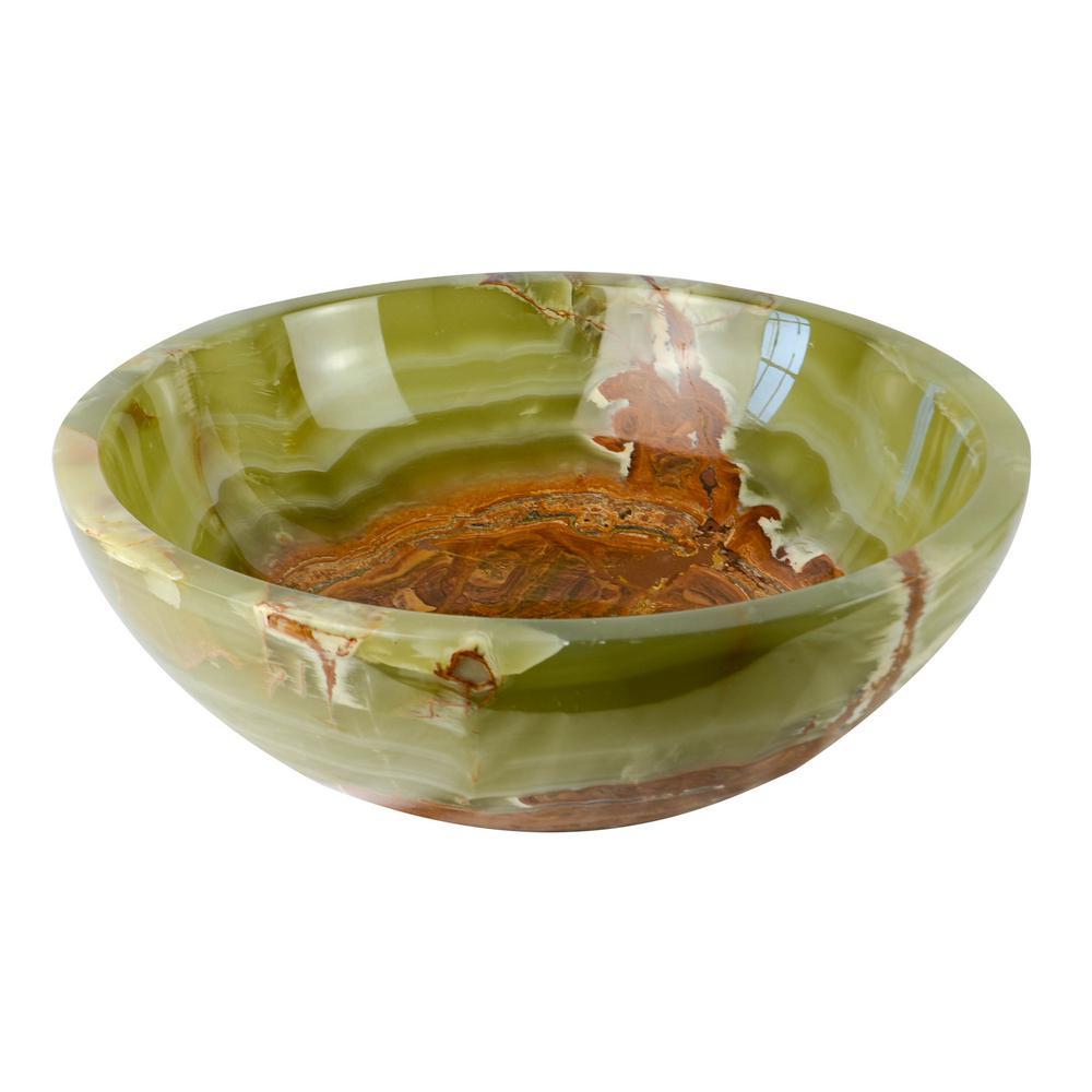 Round Onyx Stone Vessel Sink in Dark Green