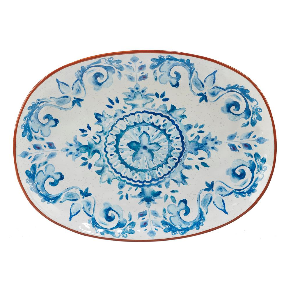 Porto Multi-Colored 17 in. x 12.5 in. Ceramic Oval Platter