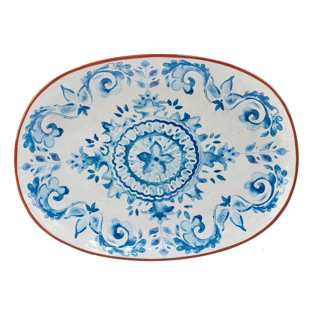 Porto Multi-Colored 17 in. x 12.5 in. Ceramic Oval Platter