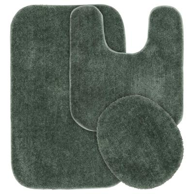 Americana Deep Fern 21 in. x 34 in. 3-Piece Nylon Bath Mat Set
