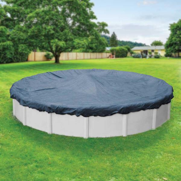 Extreme-Mesh 33 ft. Round Blue/Black Winter Pool Cover