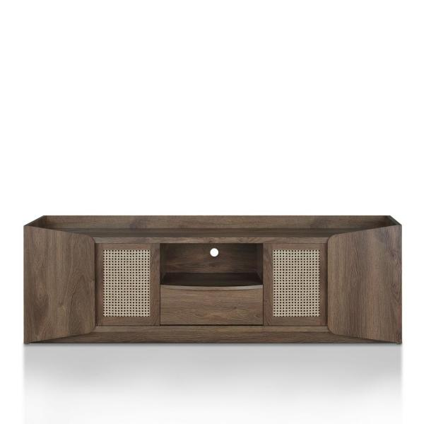 Cantwell 71 in. Distressed Walnut MDF TV Stand with 1-Drawer Fits TVs Up to 80 in. with Storage Doors