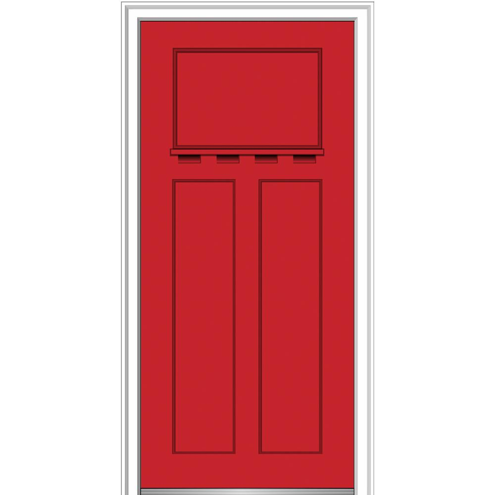 32 in. x 80 in. Shaker Left-Hand Craftsman 3-Panel Painted Fiberglass