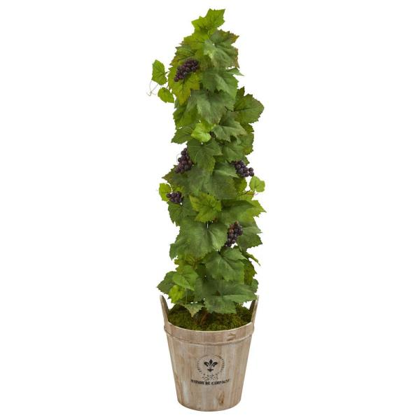 Nearly Natural 3.5 ft. Indoor Grape Artificial Plant in Barrel Planter
