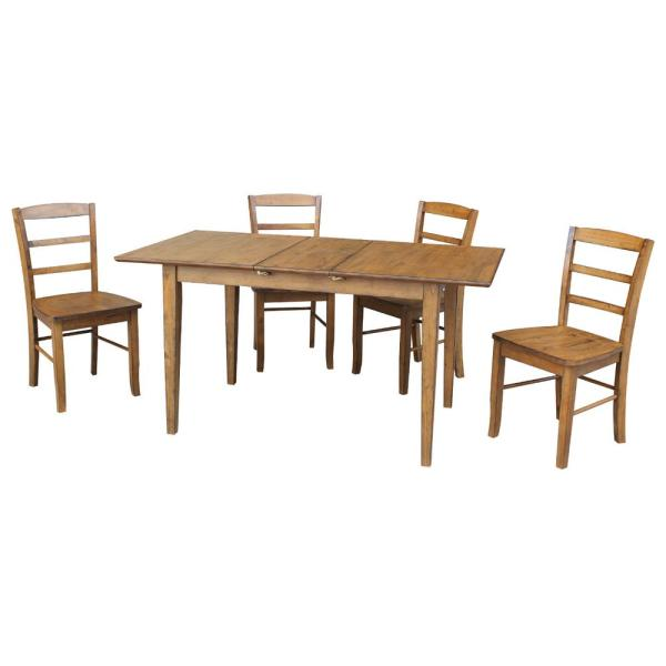 Leah 5-Piece Pecan Dining Set with Butterfly Extension and Madrid Chairs