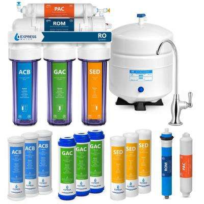 Under Sink Reverse Osmosis Water Filtration - 5 Stage w/ Faucet and Tank Plus 4 Extra Filters 50 GPD w/ Clear Housings