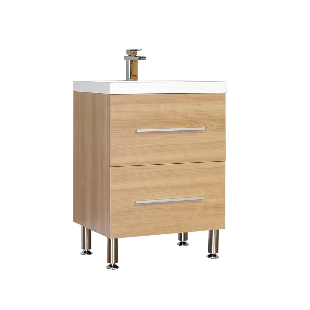 The Modern 23.5 in. W x 18.875 in. D Bath Vanity in Light Oak with Acrylic Vanity Top in White with White Basin