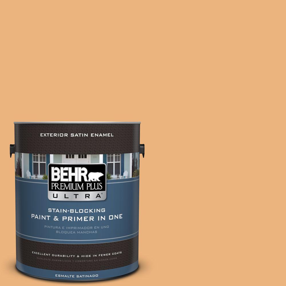 BEHR Premium Plus Ultra 1-gal. #ICC-100 Eastern Amber Satin Enamel Exterior Paint