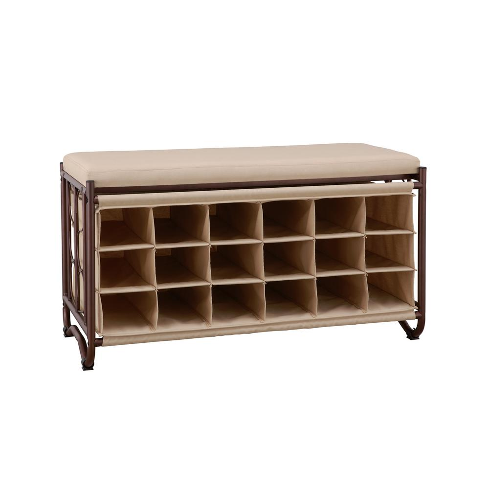 Neu Home Brown/Beige Shoe Storage Bench