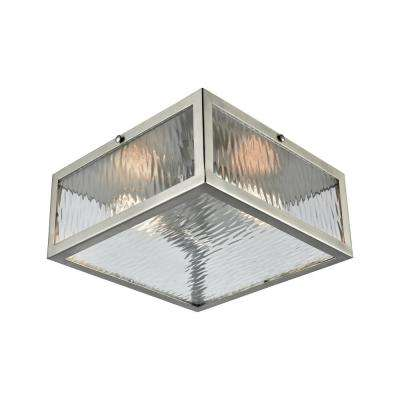 Placid 2-Light Polished Chrome with Clear Ripple Glass Flushmount