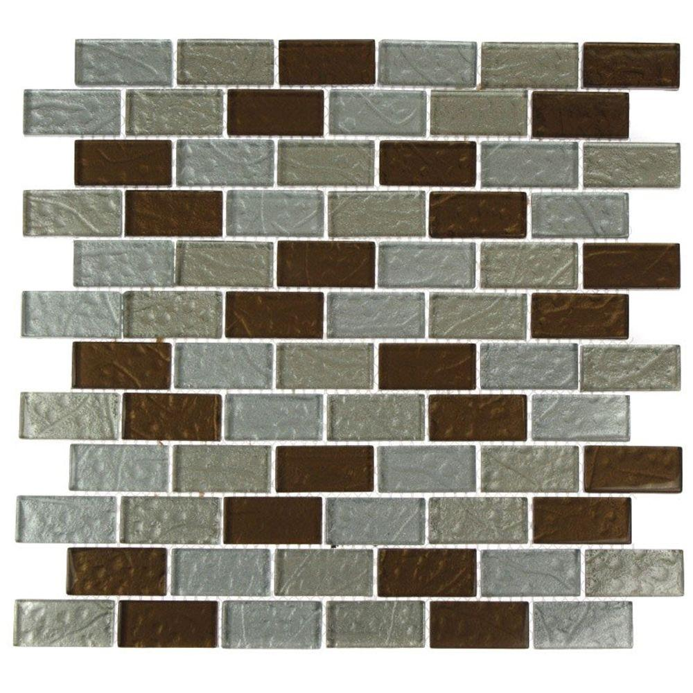 Splashback Tile Metallic Ale Blend 12 in. x 12 in. x 8 mm Glass Mosaic Floor and Wall Tile