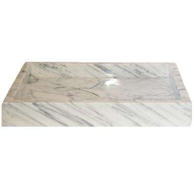 Rectangular Vessel Sink in Polished White Carrara Marble