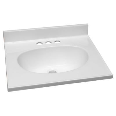 19 in. W x 17 in. D Cultured Marble Vanity Top in White with Solid White Bowl